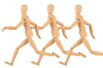 Manikin figures are running isolated on white