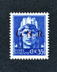 1943 Italy stamp: 35 Cent. overprint GNR