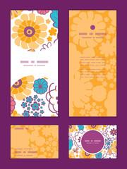 Vector colorful oriental flowers vertical frame pattern
