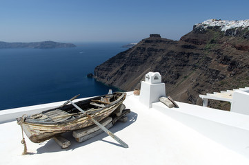 View of Oia from the white rooftops