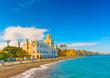 Leinwanddruck Bild - beautiful bay and the municipal building in Kos island in Greece