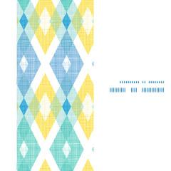Vector colorful fabric ikat diamond vertical frame seamless