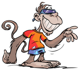 Cartoon cool-looking Monkey character.