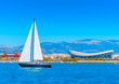 Sailing boat during regatta at Saronic gulf in Athens Greece - 78342080