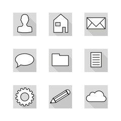 collection of 9 flat icons in neutral colors of greyscale