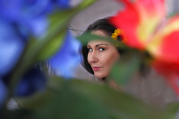 Beautiful woman in colors of nature, selective focus
