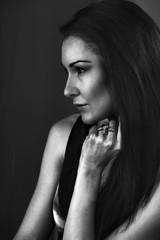Woman worry and emotions, b&w portrait