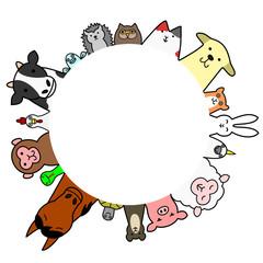 ペット 家畜 円 コピースペース カラー