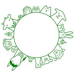 ペット 家畜 円 コピースペース ライン