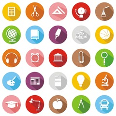 25 iconos sobre educación colores botón sombra