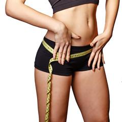 Girl measuring waist hips