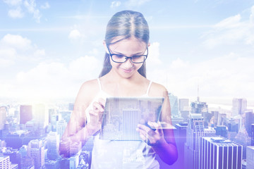 Double exposure girl city. Student using digital tablet pad