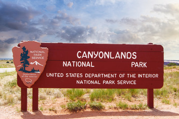 Wooden Entrance Sign to Canyonlands National Park of Utah