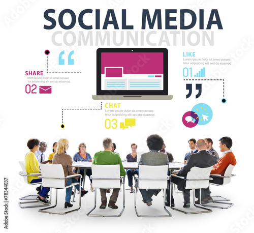 canvas print picture Social Media Social Networking Technology Connection Concept