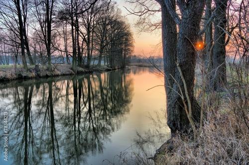 Leinwandbild Motiv Spree im Winter Sonnenuntergang - river Spree in winter 01