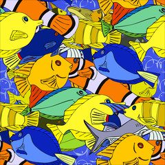 Seamless pattern with hand drawn fish