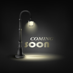 Coming Soon Text Under Street Lamp.