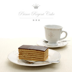 Bavaria cake, layers of biscuit with chocolate