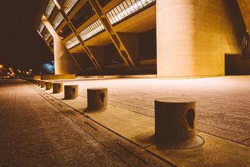 City Hall at night, in Dallas, Texas.