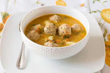 Soup with turkey meatballs, potatoes and vegetables.