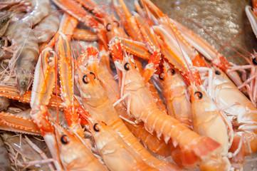 Detail of bunch of red fresh prawns in fish market