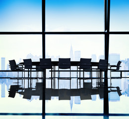 Meeting Table Conference Room Cityscape Concept