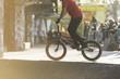 Unseen bmx biker in a skate park - 78347255