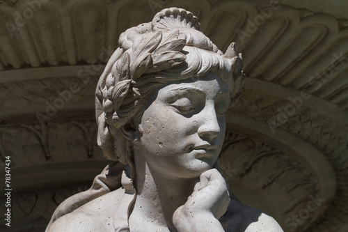 Statue of Drava river with a skin problems - 78347434