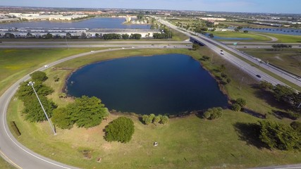 Aerial video highway interchange 4k