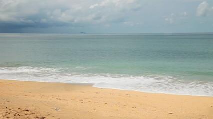 Tropical beach under gloomy sky. Thailand. Fast motion