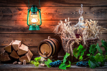 Homemade winemaking in the cellar