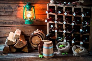 Homemade beer storeroom in the cellar