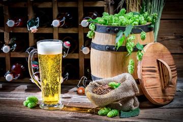 Light beer made of fresh hops