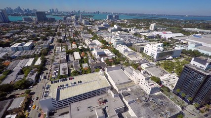 Aerial video rooftop parking lots Miami Beach 4k
