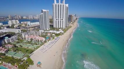 Waterfront luxury buildings aerial 4k