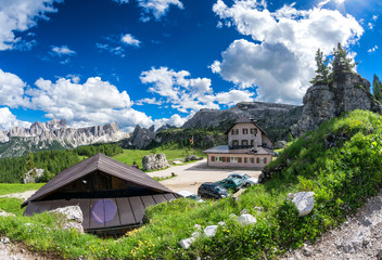 Huts in Dolomites meadow, Italy