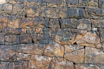 Stone wall in brown shades