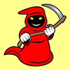A cartoon illustration of a grim reaper