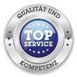 Blauer Top Service Siegel Mit Silber Rand