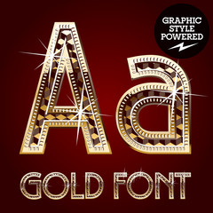 Vector set of gold rich alphabet. Letter A