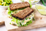 Egg and avocado sandwiches with cream cheese