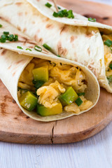 Avocado scrambled egg wraps