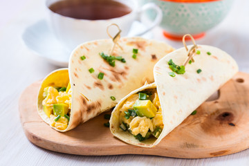 Avocado scrambled egg wraps