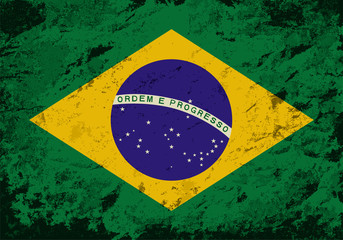 Brazilian flag. Grunge background. Vector illustration
