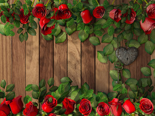 Roses and a heart with key on wooden board,