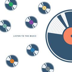 Vinyl records on white background. Flat vector illustration.