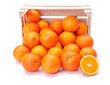 canvas print picture - Oranges in wooden crate