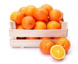 Oranges in wooden box