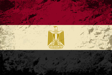 Egyptian flag. Grunge background. Vector illustration