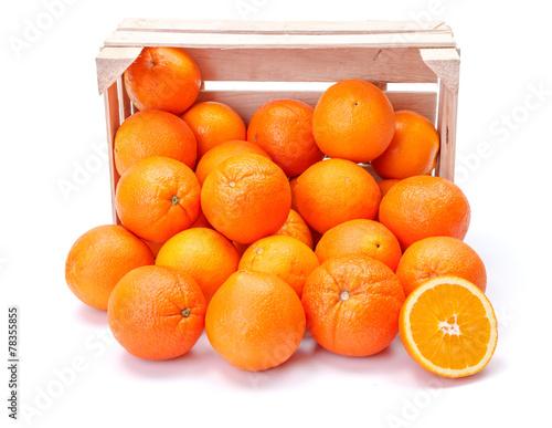 Fotobehang Vruchten Oranges in wooden crate
